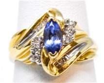 Vintage 14kt Yellow Gold Tanzanite & Diamond Ring