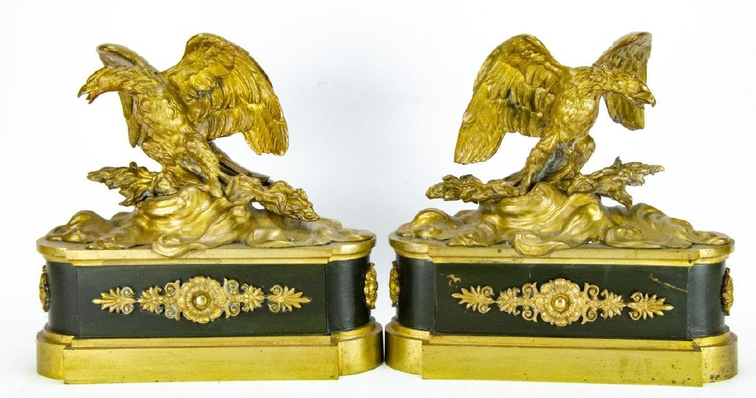 19th C French Empire Gilt, Patinated Eagle Statues