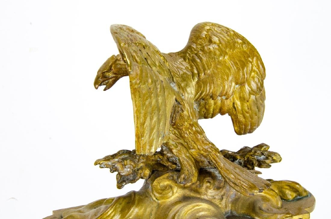 19th C French Empire Gilt, Patinated Eagle Statues - 3