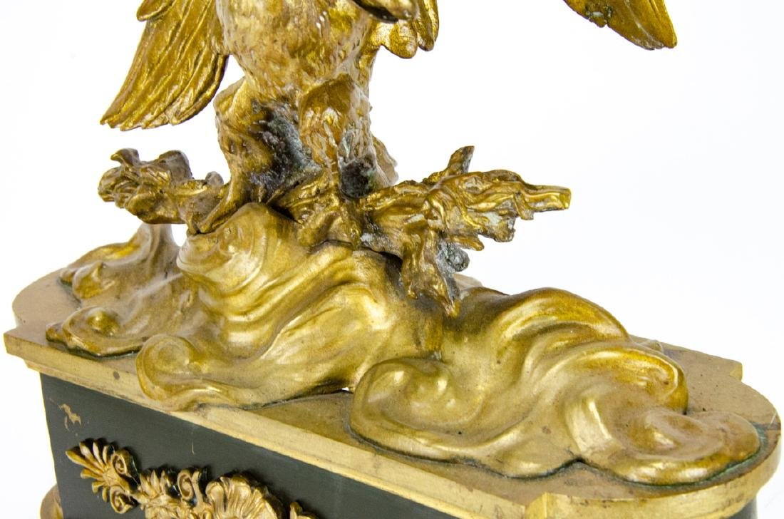 19th C French Empire Gilt, Patinated Eagle Statues - 7