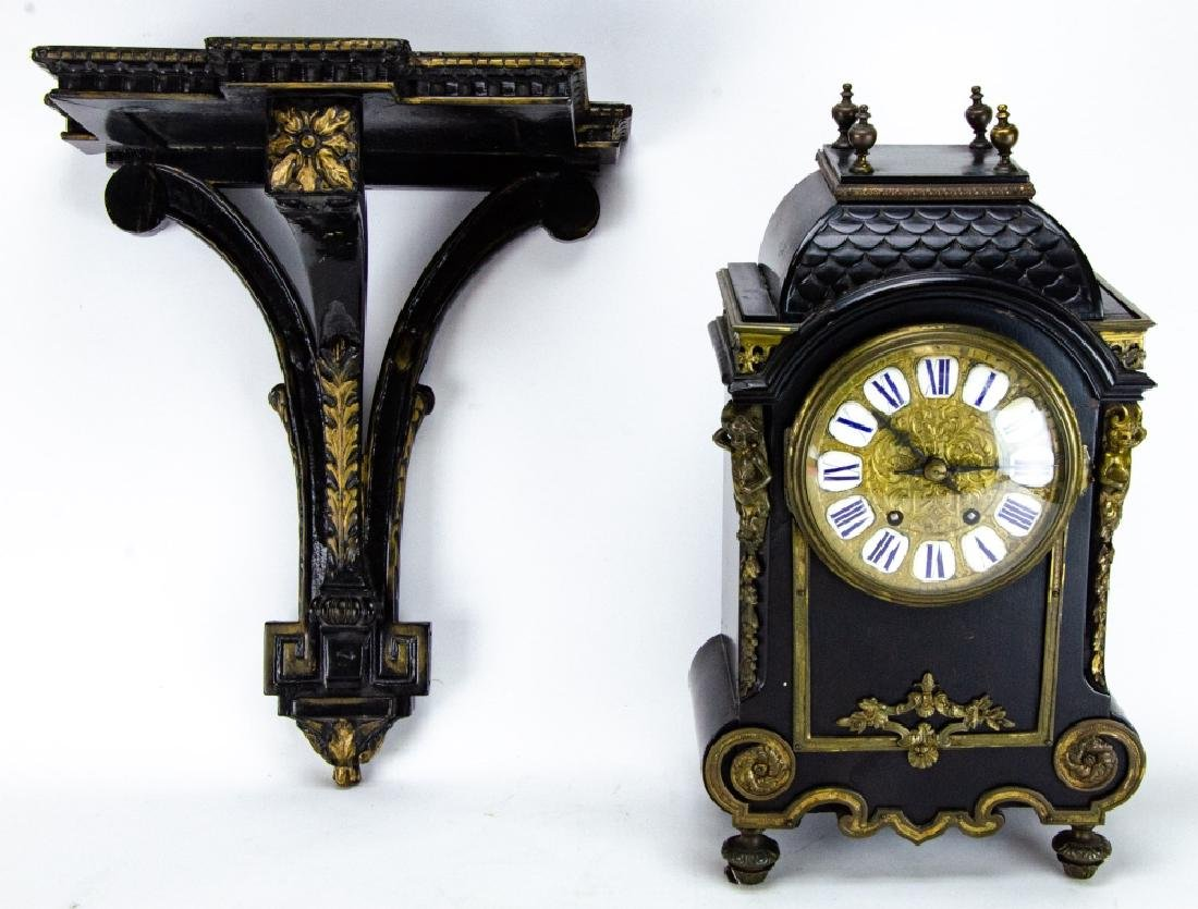 Antique French Napoleonic Style Cartel Form Clock