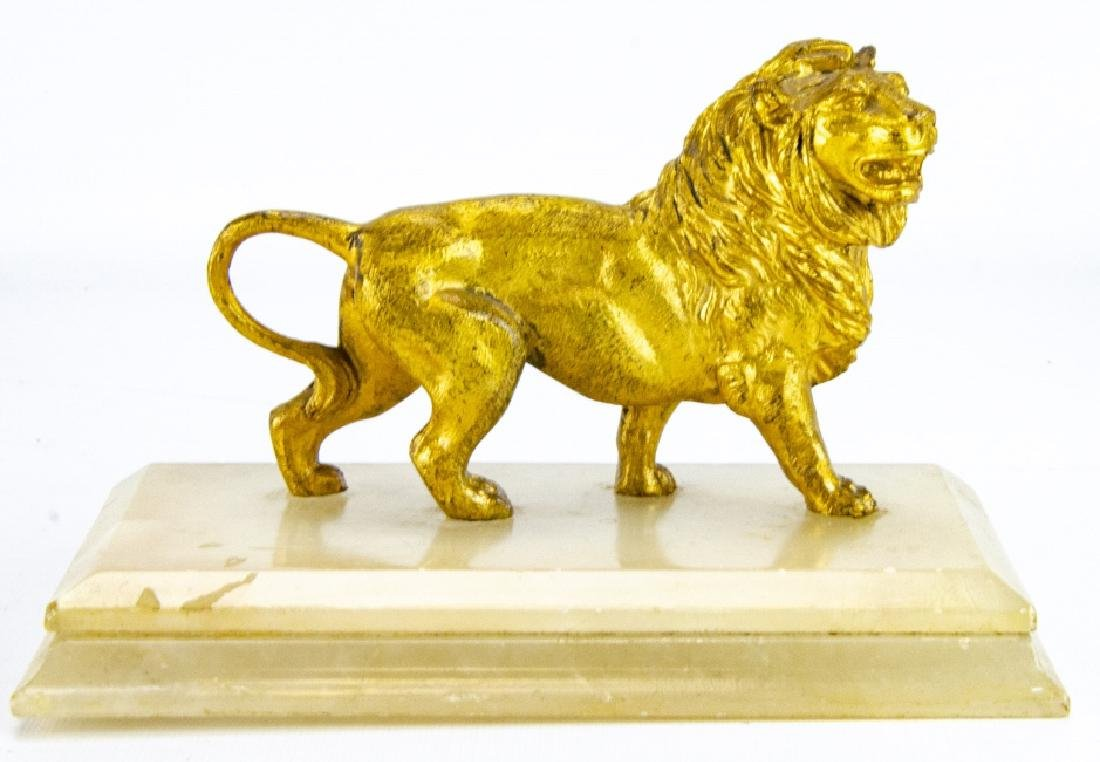Antique Gilt Ormolu & Marble Statue of a Lion