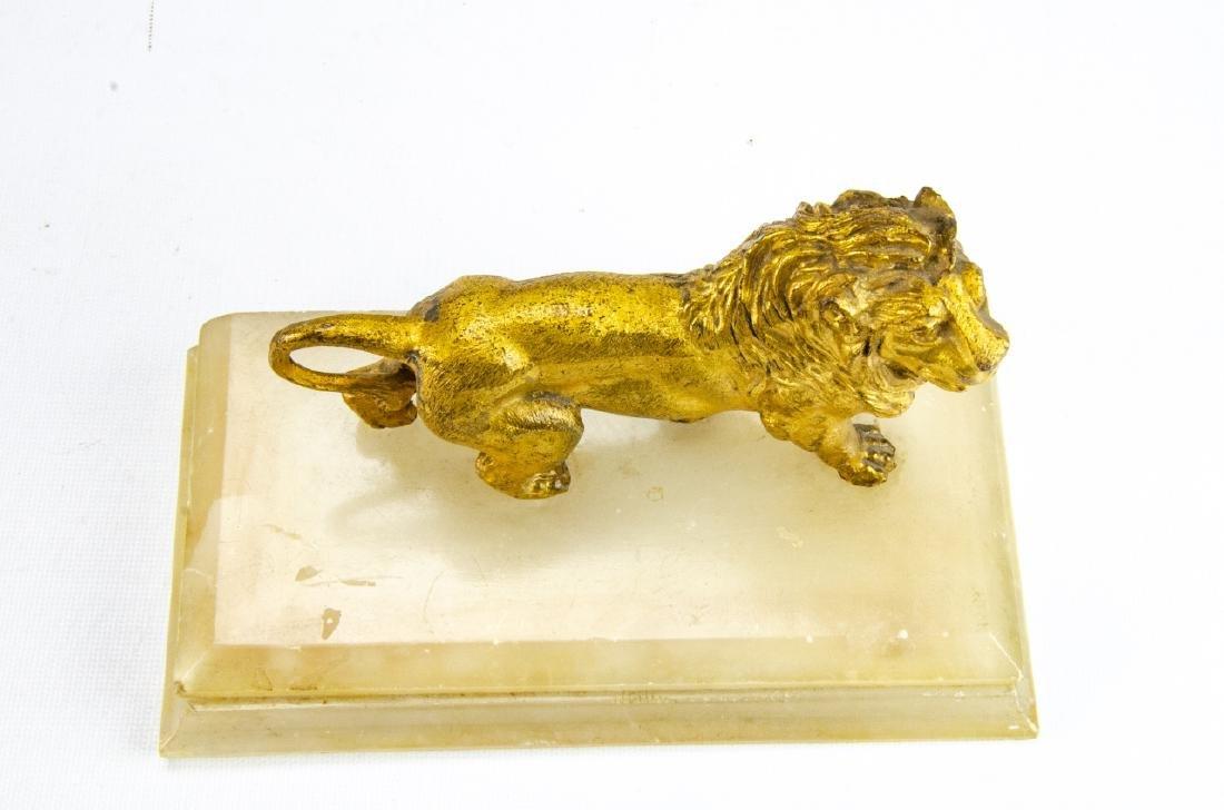 Antique Gilt Ormolu & Marble Statue of a Lion - 2