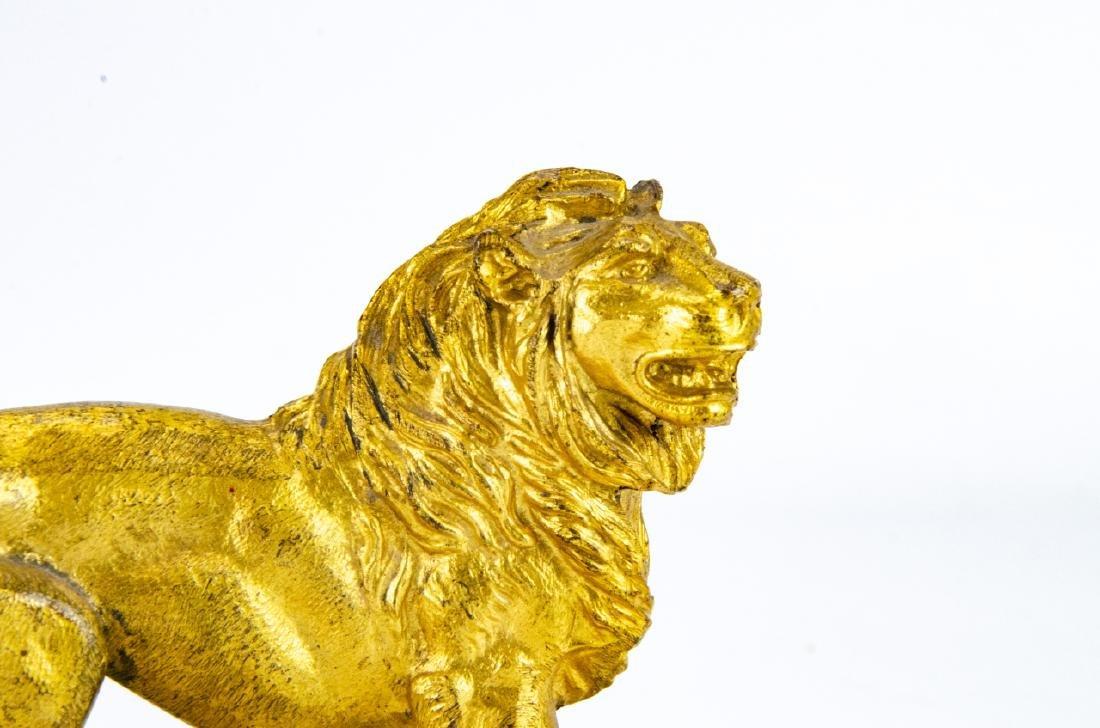 Antique Gilt Ormolu & Marble Statue of a Lion - 3