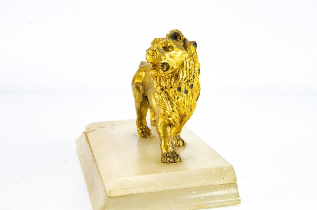 Antique Gilt Ormolu & Marble Statue of a Lion - 4