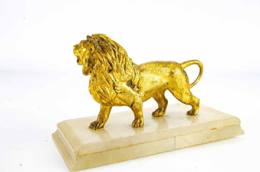 Antique Gilt Ormolu & Marble Statue of a Lion - 5
