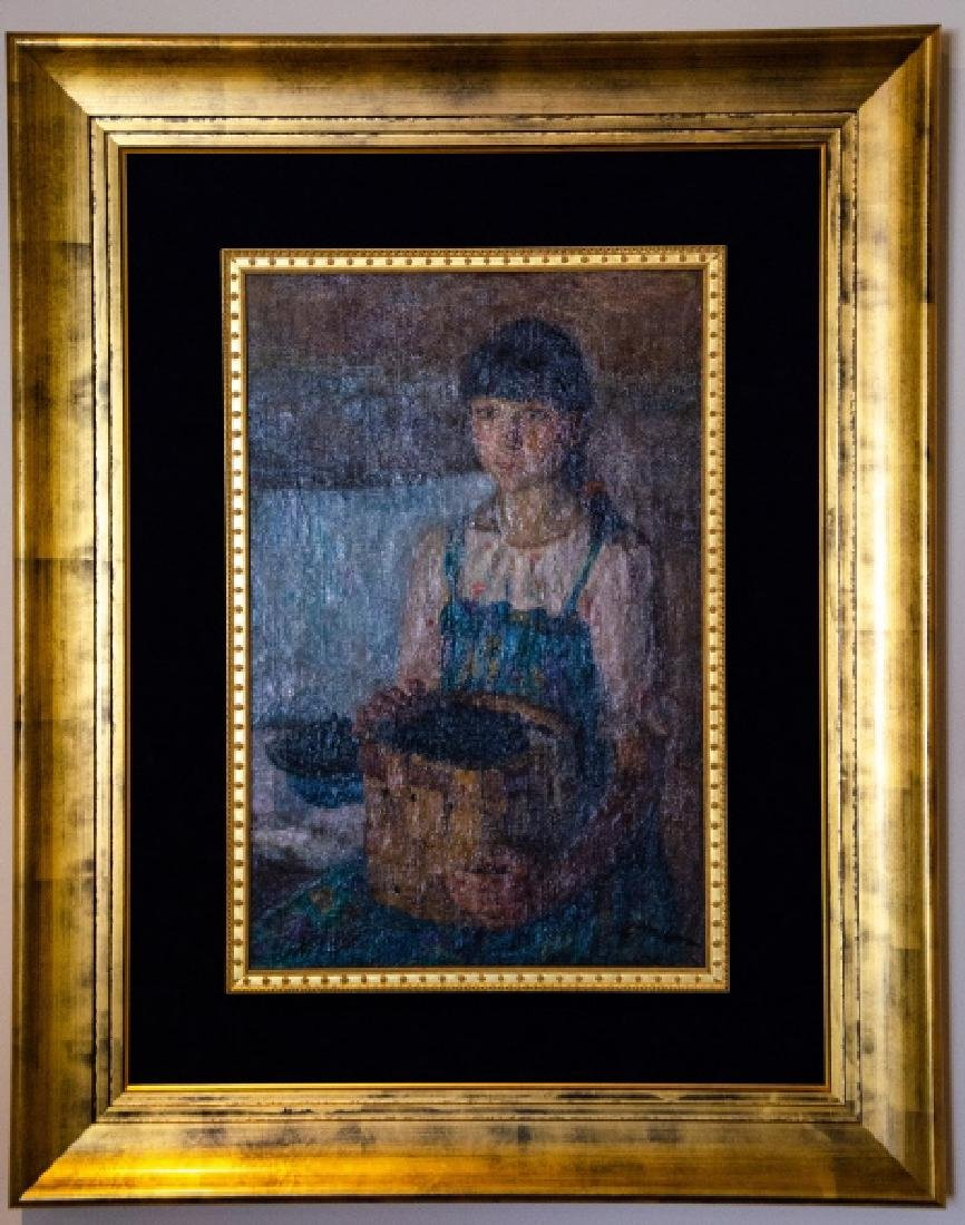 Russian Oil Painting - Portrait of a Girl w Fruit