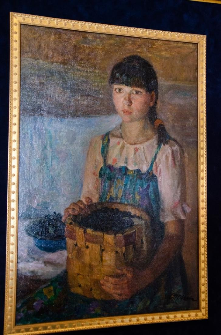 Russian Oil Painting - Portrait of a Girl w Fruit - 3