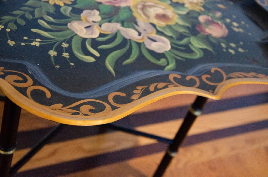English Style Tole Metal Floral Motif Coffee Table - 4