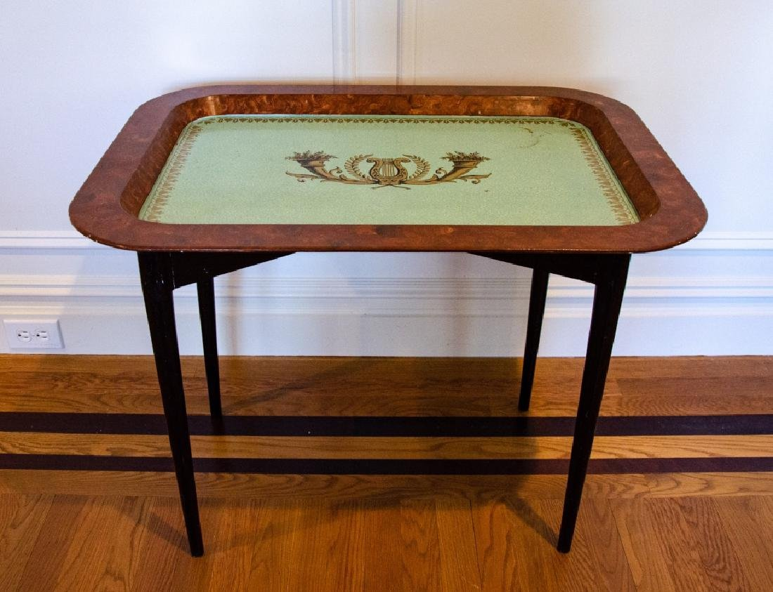 English Style Tole Metal Stenciled Coffee Table