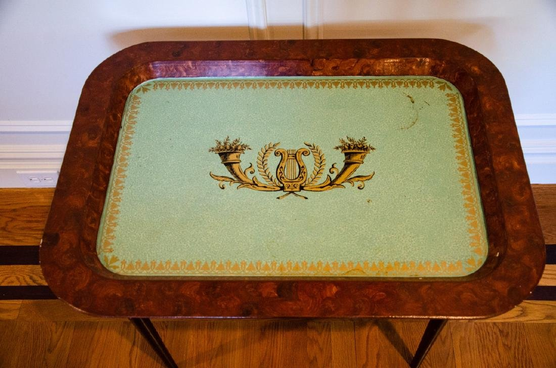 English Style Tole Metal Stenciled Coffee Table - 3