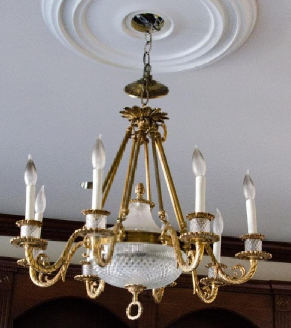 French Empire Neo Classical Crystal Chandelier