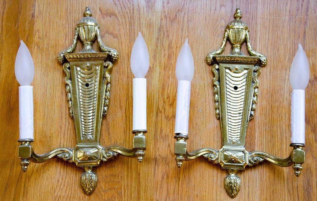 Pair French Style Gilt Ormolu Bronze Wall Sconces