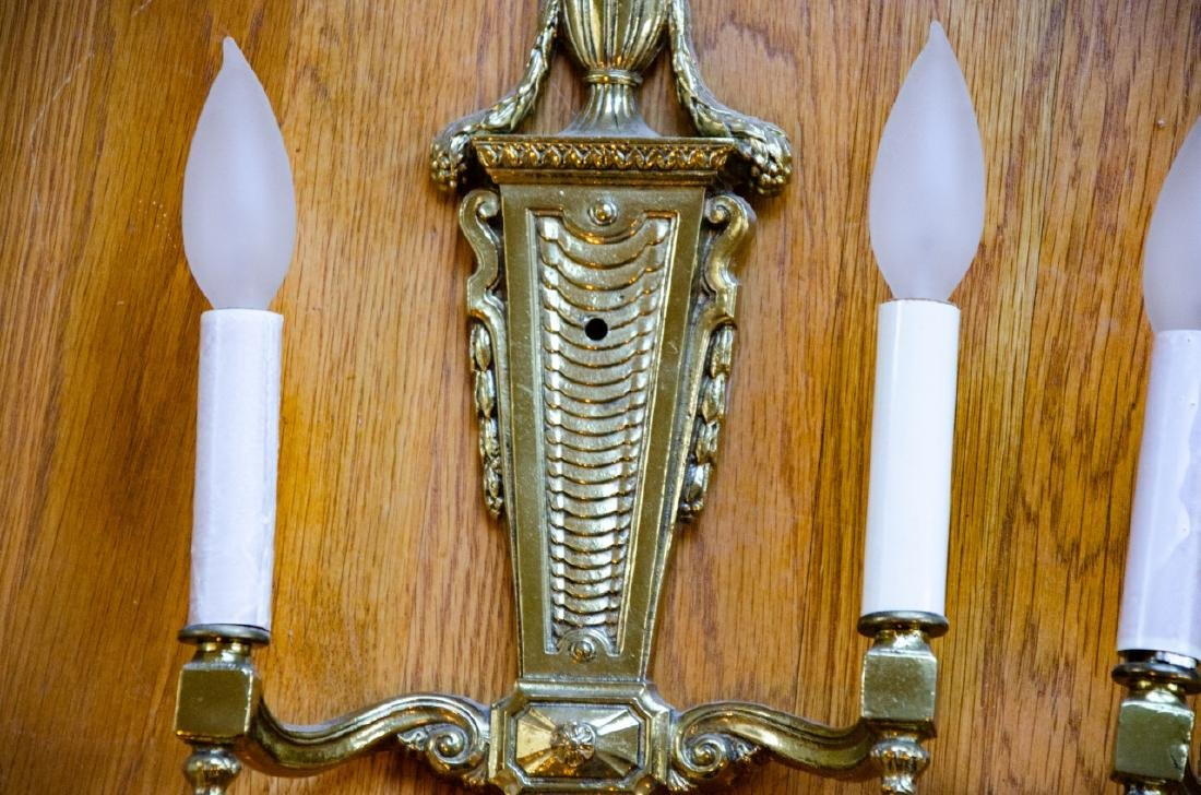Pair French Style Gilt Ormolu Bronze Wall Sconces - 2