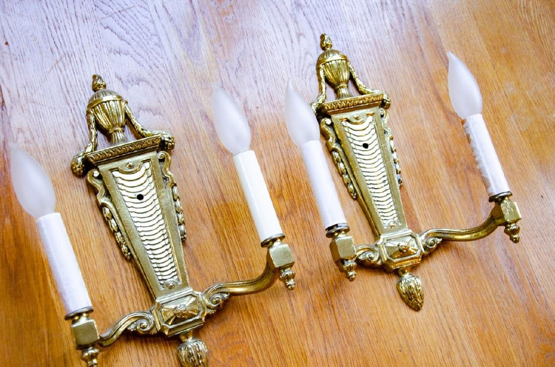 Pair French Style Gilt Ormolu Bronze Wall Sconces - 5
