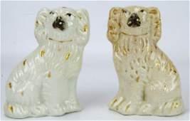 Pair Antique 19th C Staffordshire Porcelain Dogs