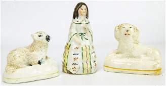 3 Antique 19th C Staffordshire Porcelain Figurines