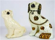 2 Antique 19th C Staffordshire Porcelain Dogs