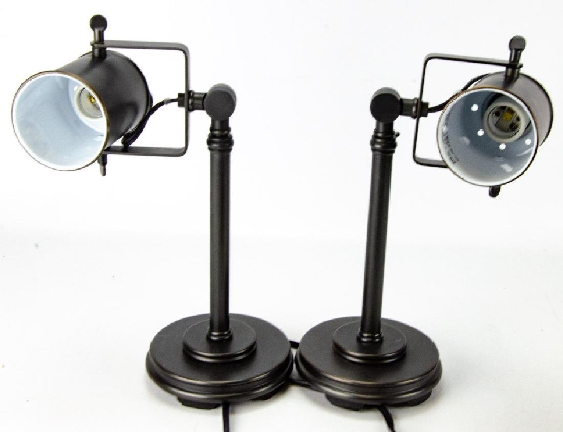 Pair Rubbed Brass Contemporary Style Table Lamps
