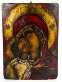 Antique 19th C Italian Painted Icon Mother of God