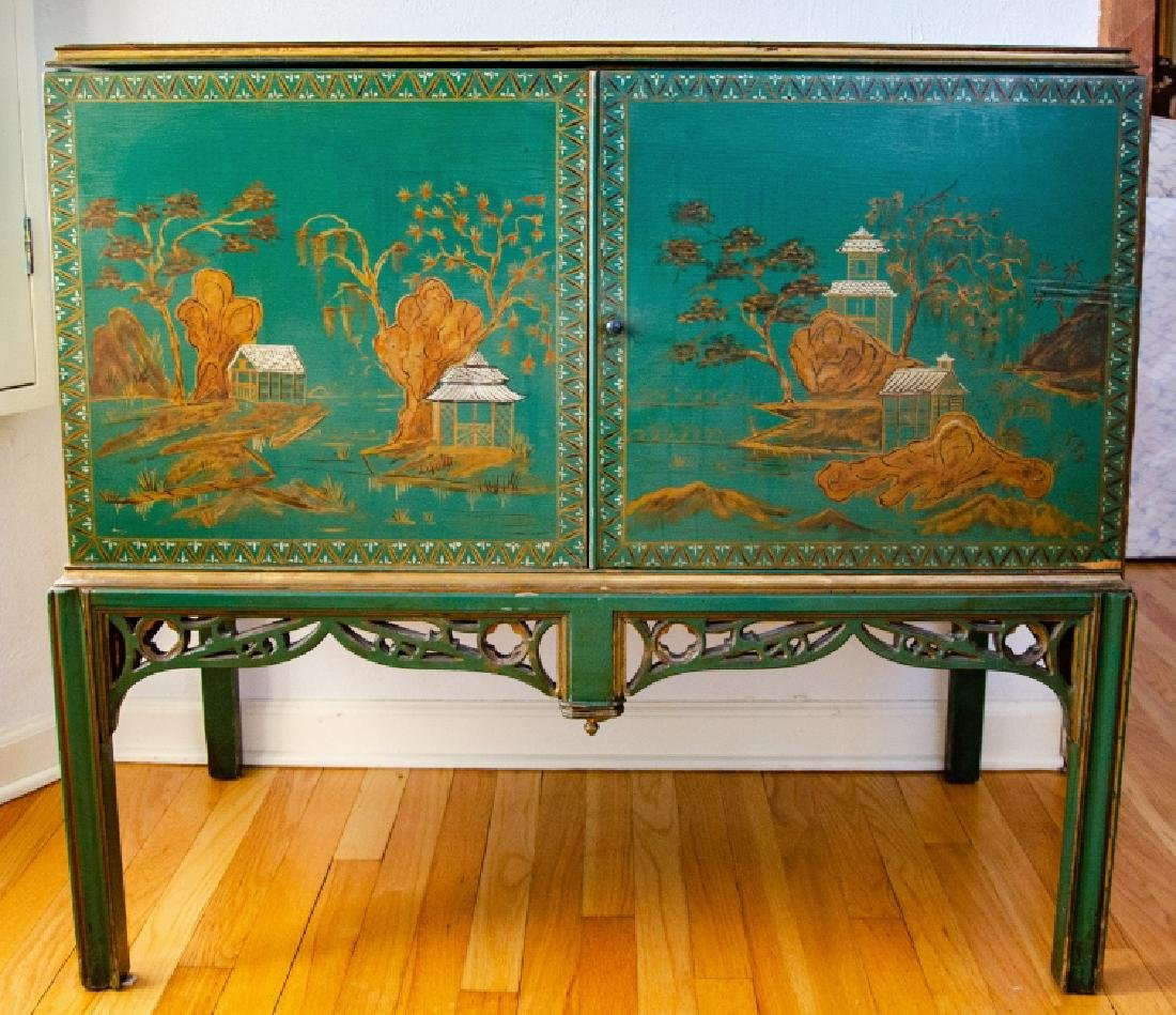 Chinoiserie Style Hand Painted Record Cabinet