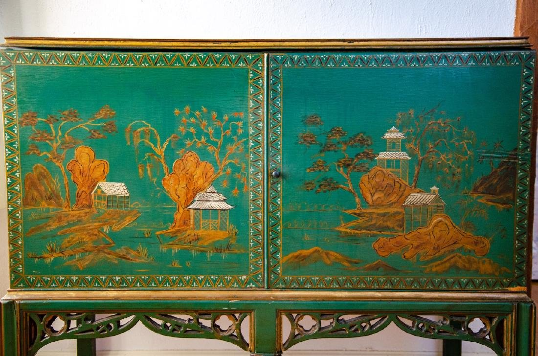 Chinoiserie Style Hand Painted Record Cabinet - 2