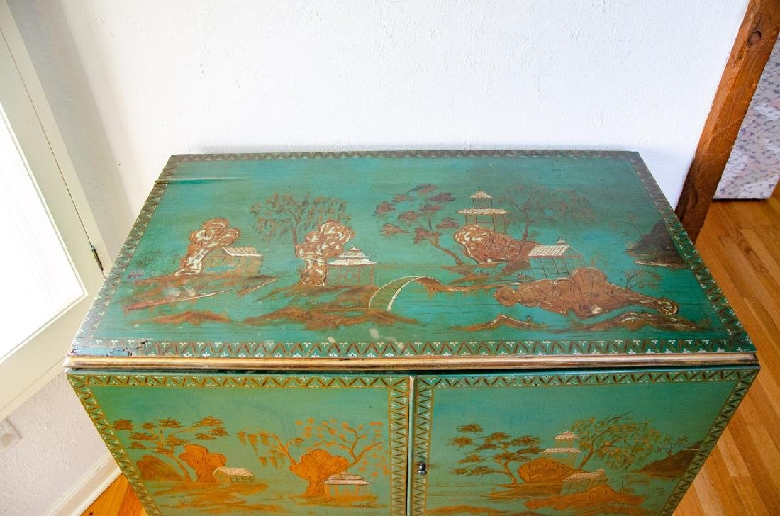 Chinoiserie Style Hand Painted Record Cabinet - 3