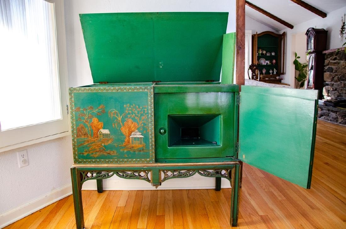 Chinoiserie Style Hand Painted Record Cabinet - 5