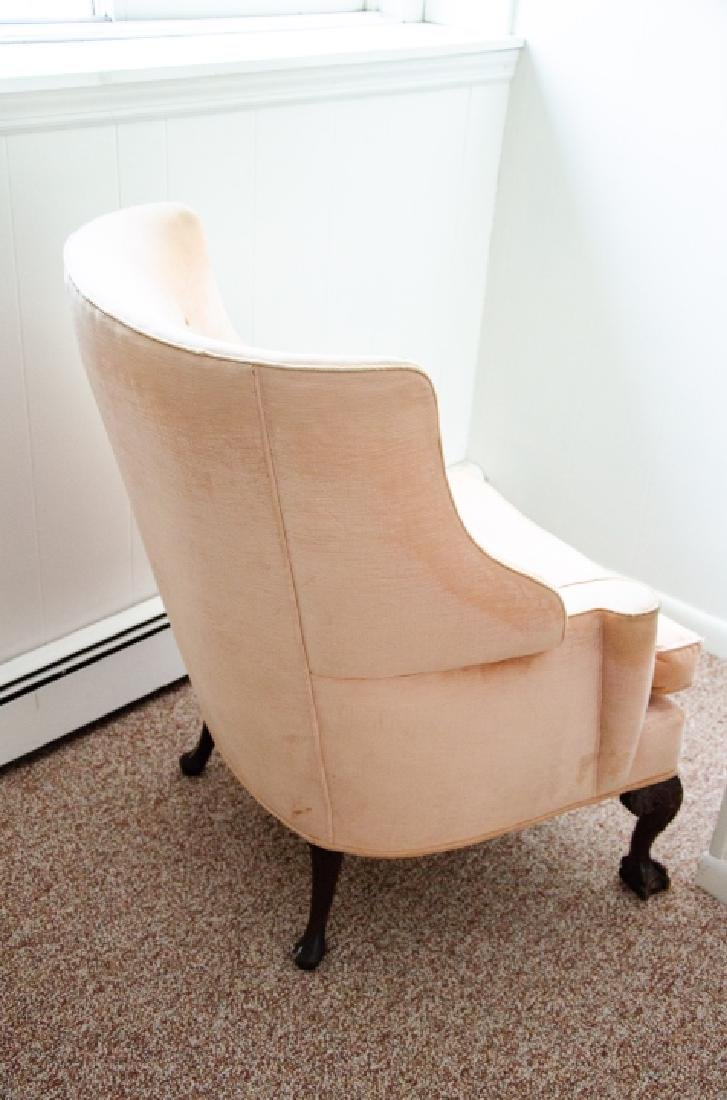 Queen Anne Style Wing Back Arm Chair W Claw Feet - 5