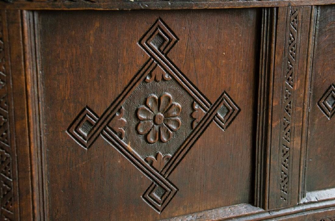 English Tudor Style Hand Carved Blanket Chest - 3