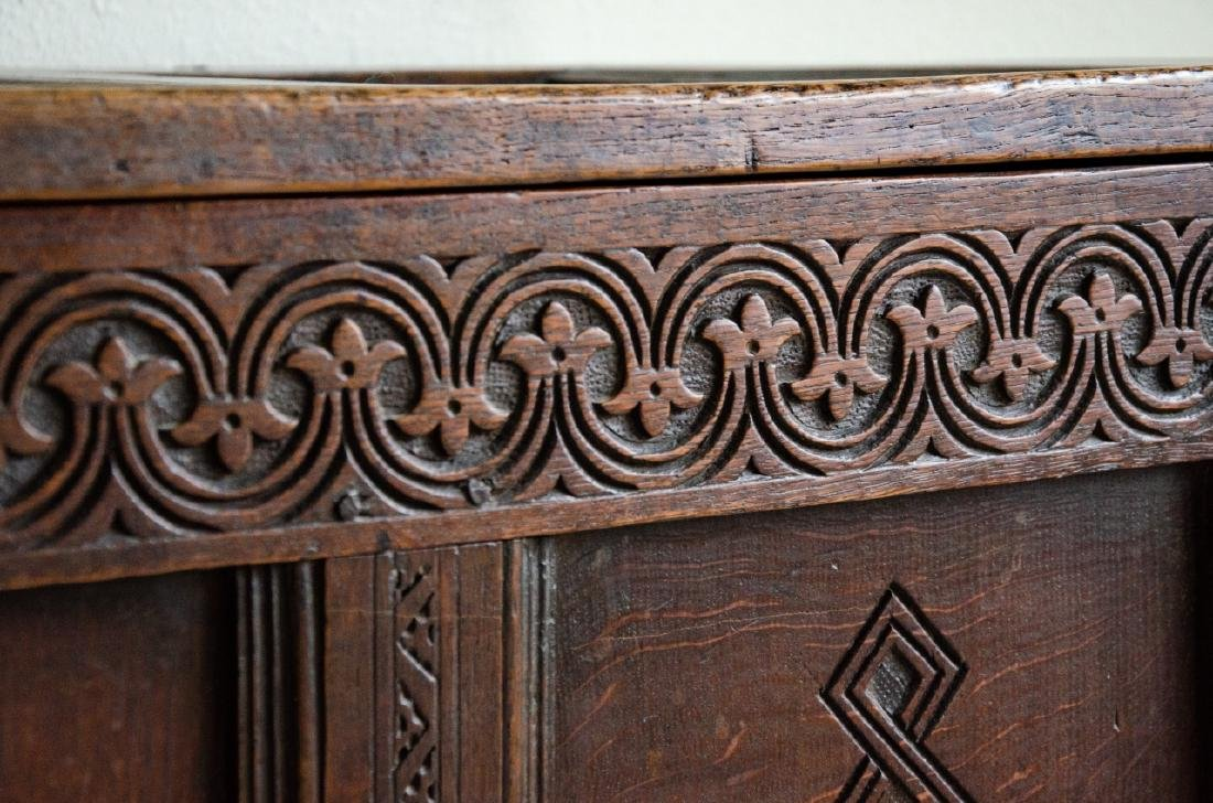 English Tudor Style Hand Carved Blanket Chest - 4