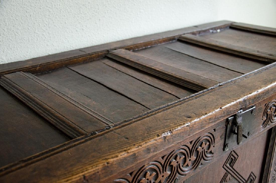 English Tudor Style Hand Carved Blanket Chest - 5