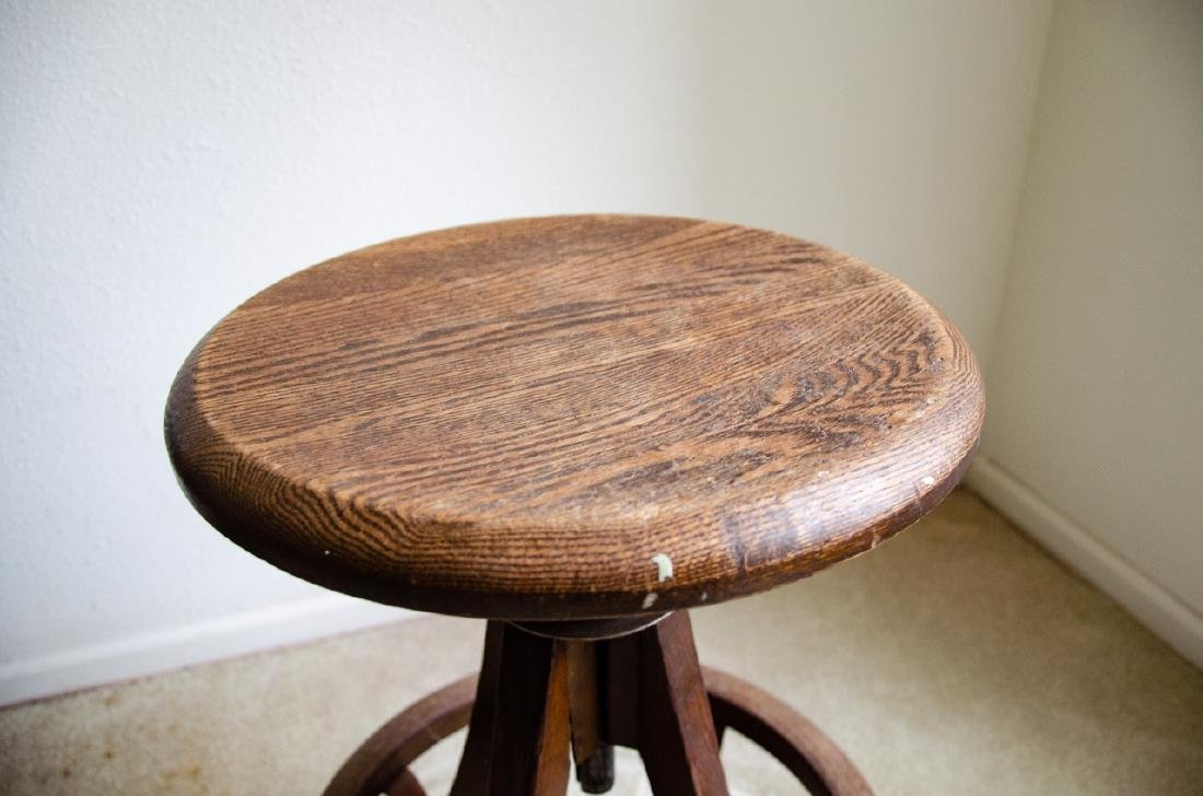 Industrial Style Wooden Stool - 2