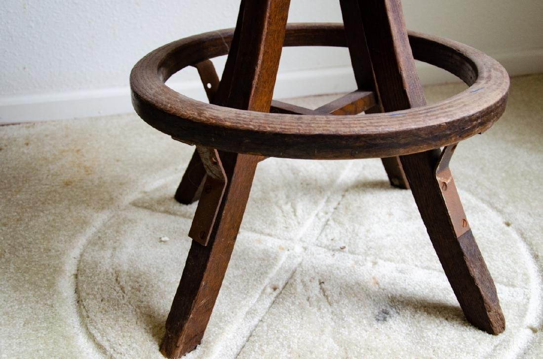 Industrial Style Wooden Stool - 4