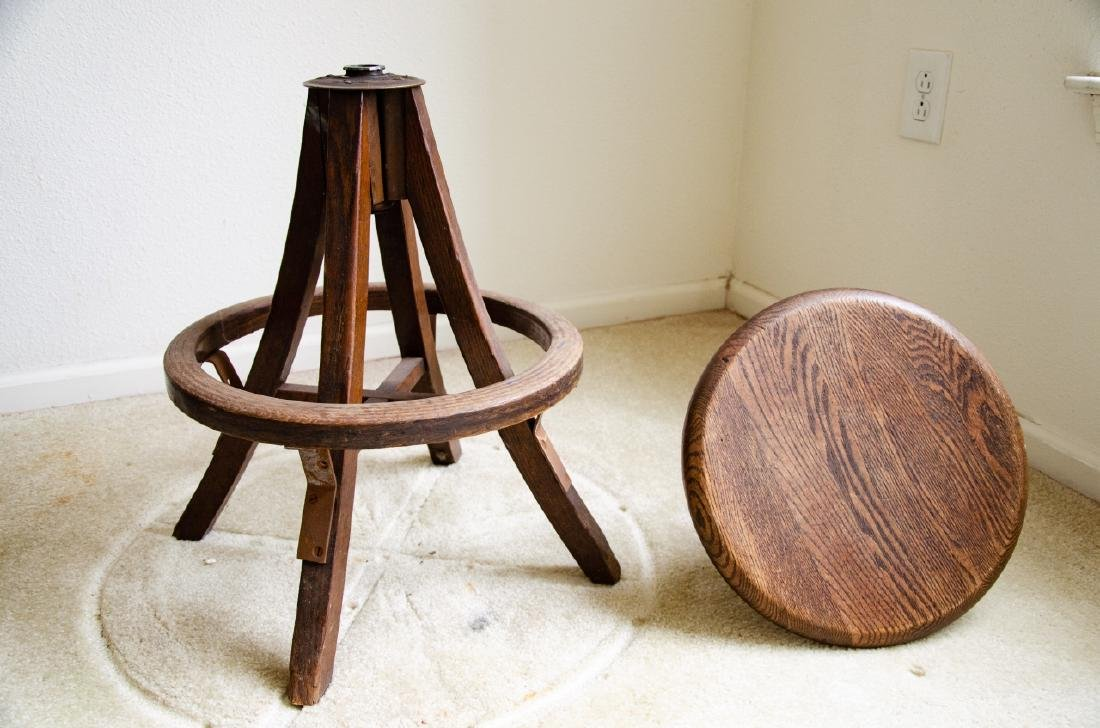 Industrial Style Wooden Stool - 5