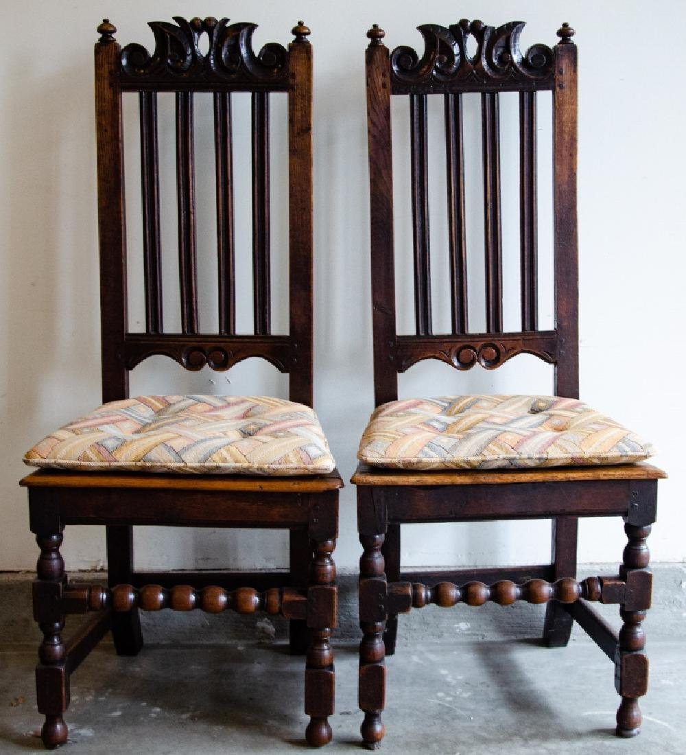 Pair English Tudor Style Hand Carved Side Chairs