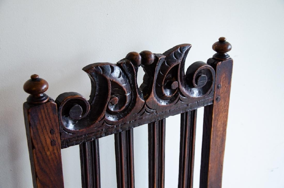 Pair English Tudor Style Hand Carved Side Chairs - 2