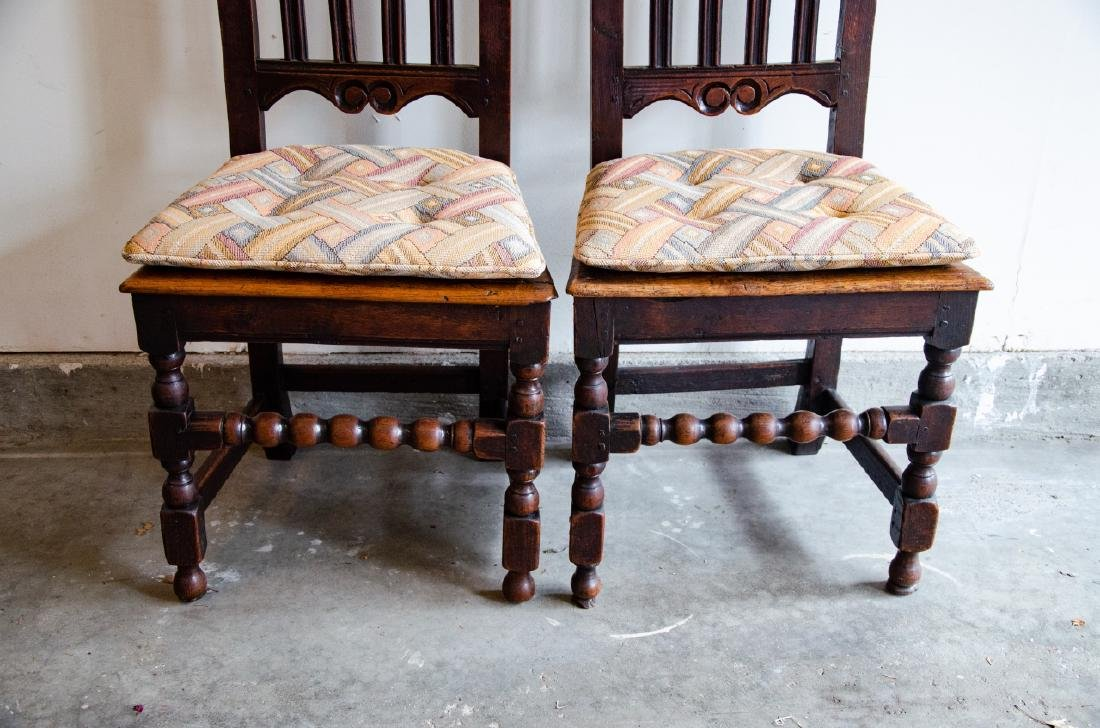 Pair English Tudor Style Hand Carved Side Chairs - 3