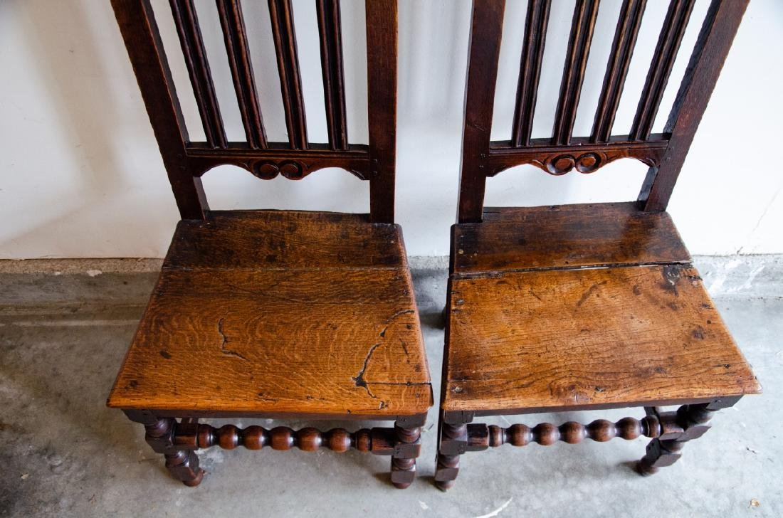 Pair English Tudor Style Hand Carved Side Chairs - 4