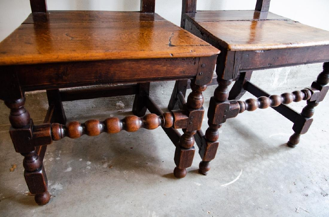 Pair English Tudor Style Hand Carved Side Chairs - 5