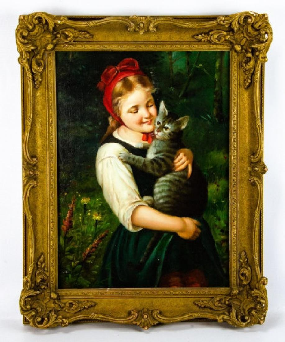Framed Oil on Canvas Painting of Girl & Cat