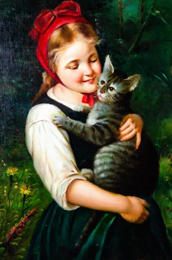 Framed Oil on Canvas Painting of Girl & Cat - 2