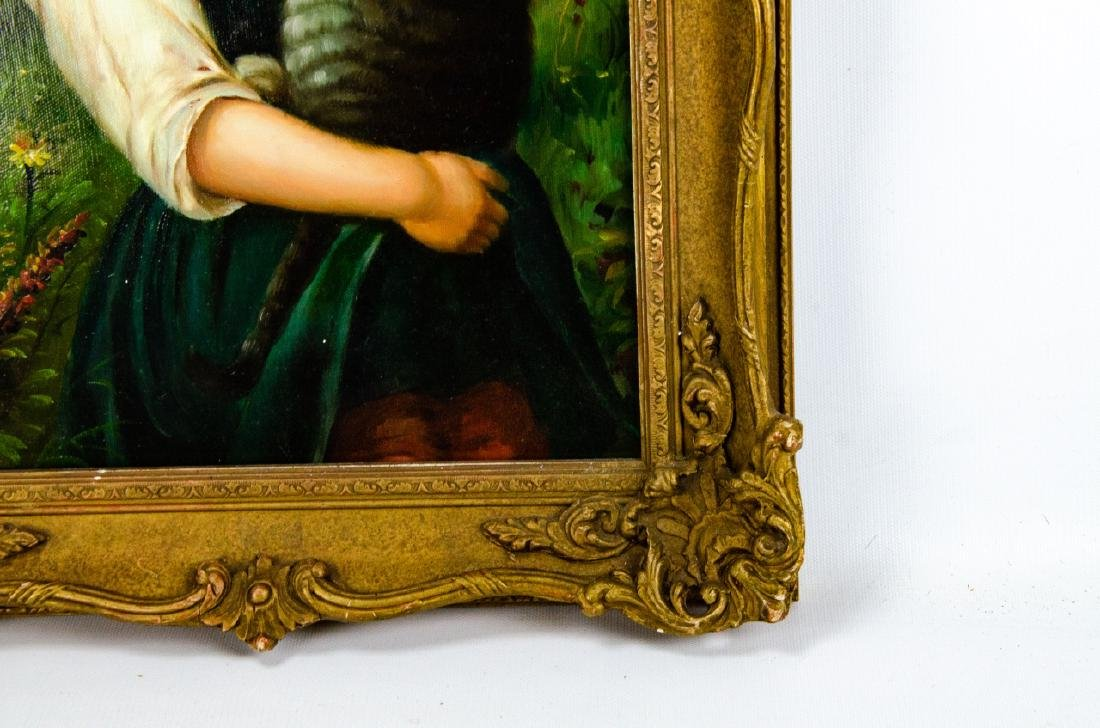 Framed Oil on Canvas Painting of Girl & Cat - 6