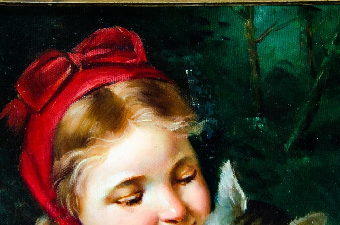 Framed Oil on Canvas Painting of Girl & Cat - 7