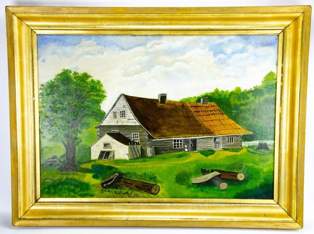 Oil Painting of Colonial American Homestead Scene