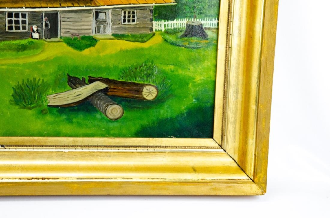 Oil Painting of Colonial American Homestead Scene - 2