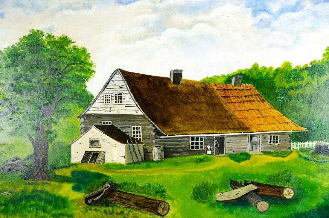 Oil Painting of Colonial American Homestead Scene - 3