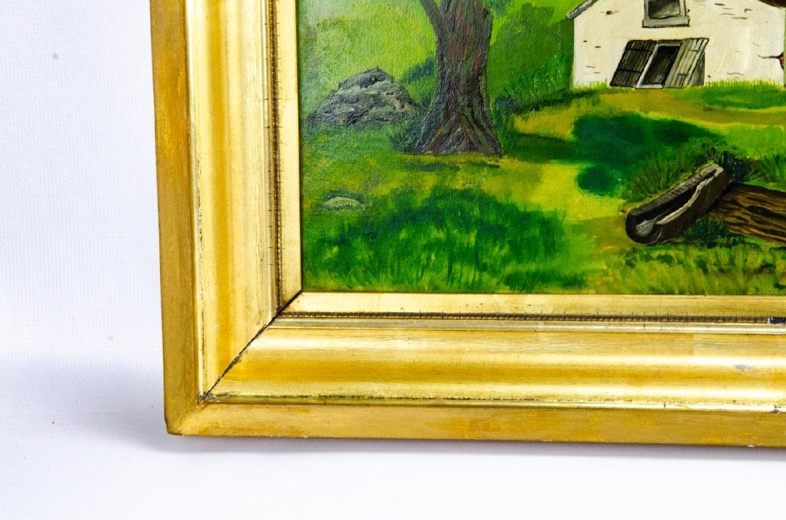 Oil Painting of Colonial American Homestead Scene - 4