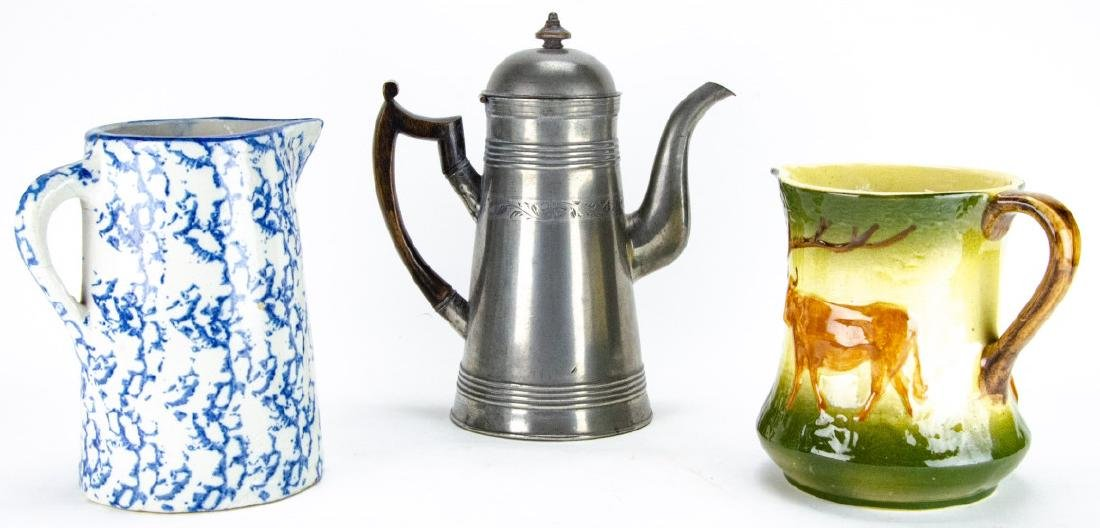 Collection of Pewter & Ceramic Pitchers