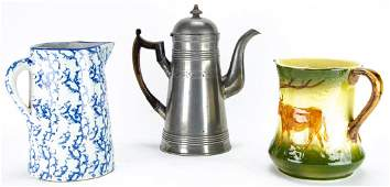 Collection of Pewter  Ceramic Pitchers